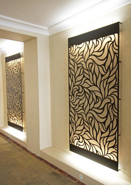 Arranged Leaves Partition Jali Design Wall Art Lighting Art Design