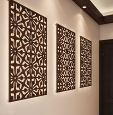 Geometric jali partition wall art design