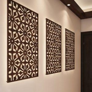 Geometric jali partition wall art design