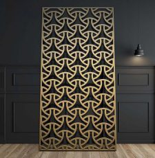 Geometric jali partition metalic design