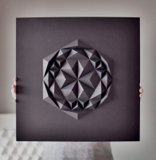 Folded Hexagon 3D Wall Art Panel STL DXF Relief files pack