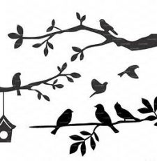 7 bird leaf wall art design