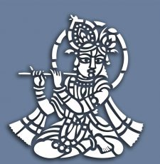Krishna Playing Flute Vector Laser Cutting engraving Design