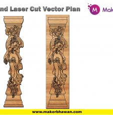 engraved pillar plate home temple lady design DXF