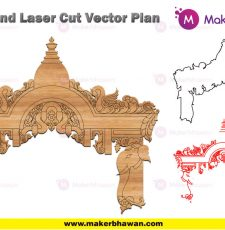 home temple front plan engraving design DXF
