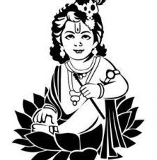 Bal Krishna with Engraving design