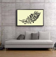 Feather stencils wall art